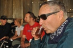 Michael Haynes enjoying cup of tea.
