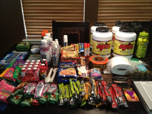 Our nutrition and supplies for last year's Texas Water Safari.