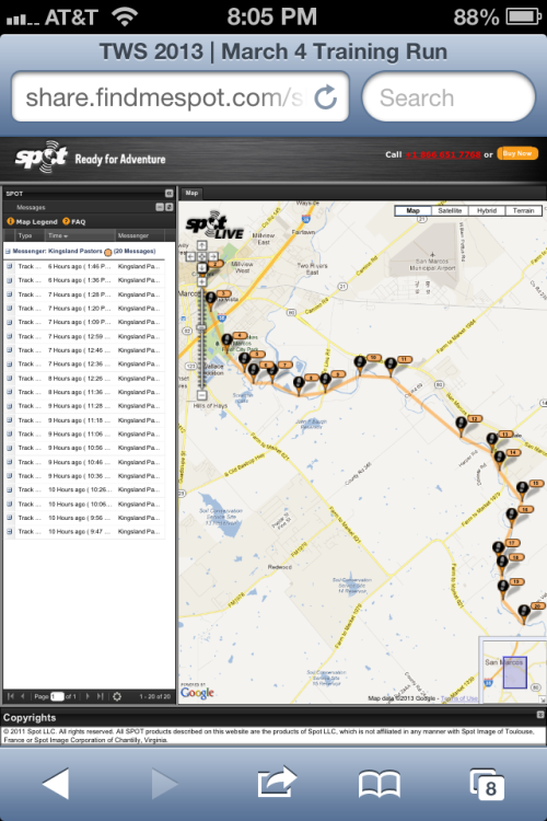 Today's training run as plotted by our Spot Tracker.