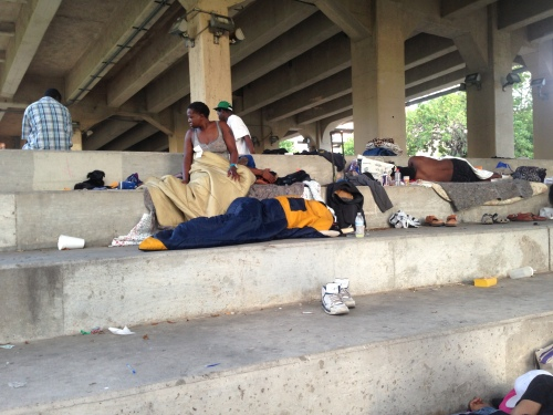The homeless starting their day at Allen's Landing.