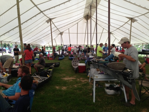 One of the staging areas where racers prepare their boats for the race.