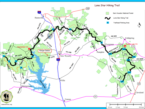 Lone Start Hiking Trail Overview Map