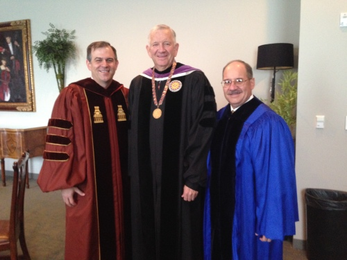 With Dr. Robert Sloan, HBU President, and Dr. Steven Jones.
