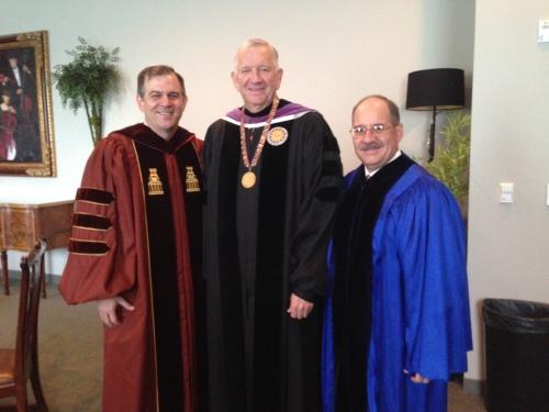 With Dr. Robert Sloan, HBU President, and Dr. Steven Jones.