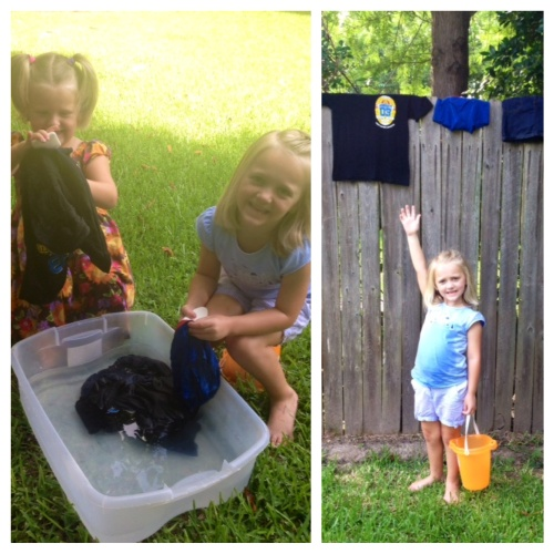 Sisters Cassidy and Chloe learning how the Eritrean kids do laundry.