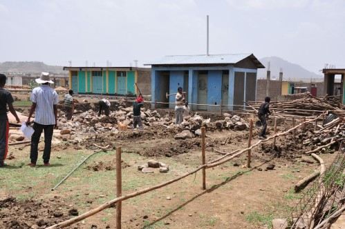 Construction of the girls dormitory at the Endabaguna Transition Center has started.