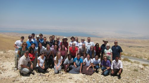 At Mount Nebo with the Dead Sea in the background.