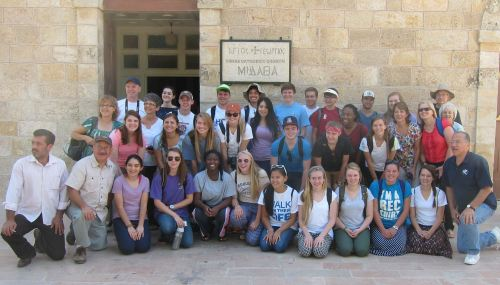 At the Greek Orthodox Basilica of St. George in Madaba.